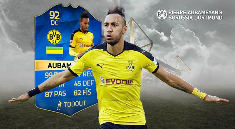 Aubameyang seguramente tendrá un TOTS en FIFA 16 luego de haber marcado 25 goles en la Bundesliga