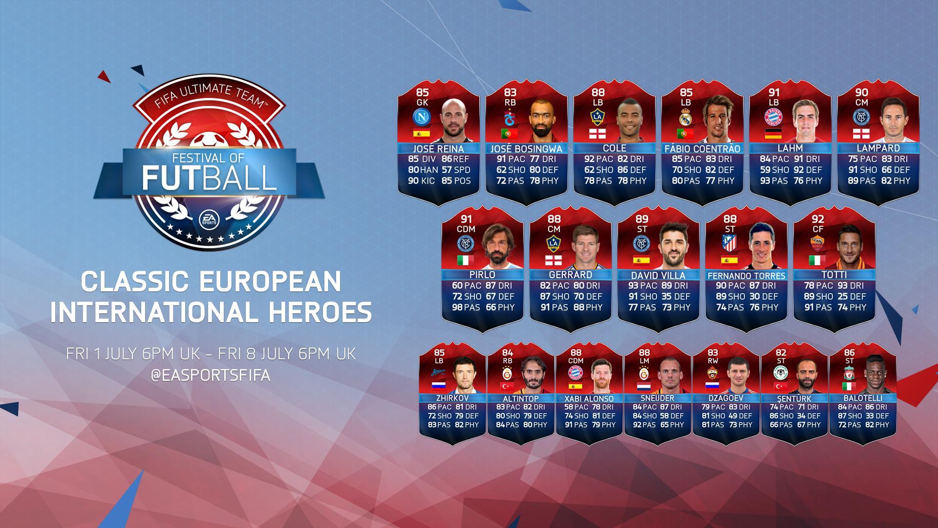 ¡Los Héroes Clásicos Internacionales (Europa) ya están disponibles en #FUT!